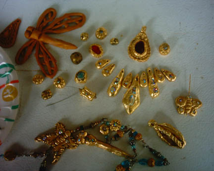 bunches of gold beads